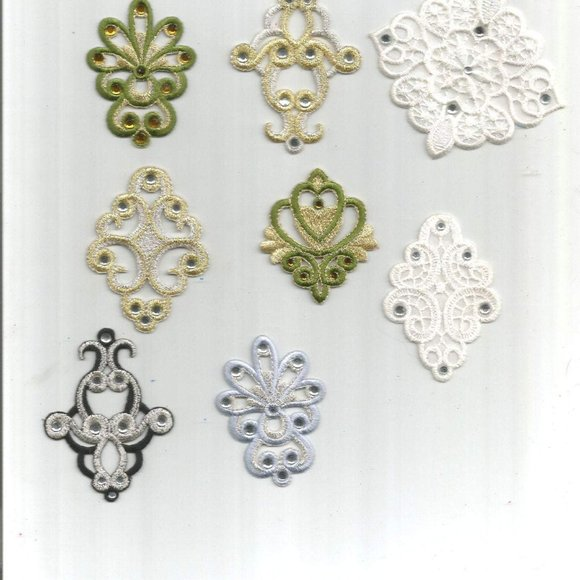 Other - 8 pc White Gold design Iron On Patch Applique 0617